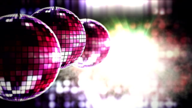 Shiny disco balls in smoke club background