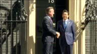Shinzo Abe meets David Cameron at Downing Street ENGLAND London Downing Street EXT Car pulls up / Shinzo Abe along and shakes hands with David...