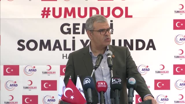 A ship carrying relief goods departs from Turkey's Mediterranean province of Mersin following a ceremony which is attended by Turkish Deputy Prime...