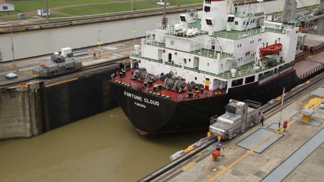 A ship leaves in the Panama Canal