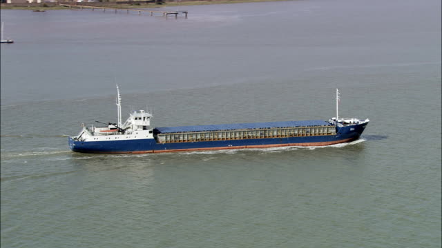 Ship on Thames River near Milton-next-Gravesend - Aerial View - England, Thurrock, United Kingdom