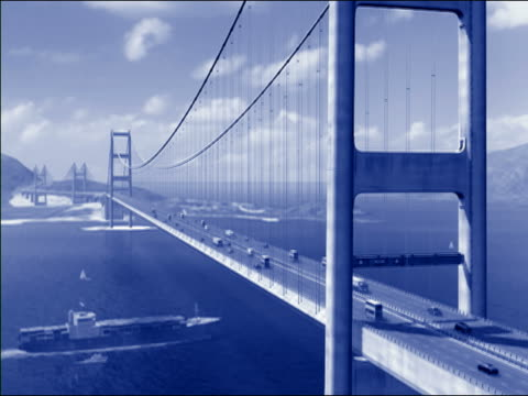 Ship passing under bridge, animation