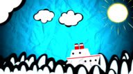 Ship sailing on animated drawing