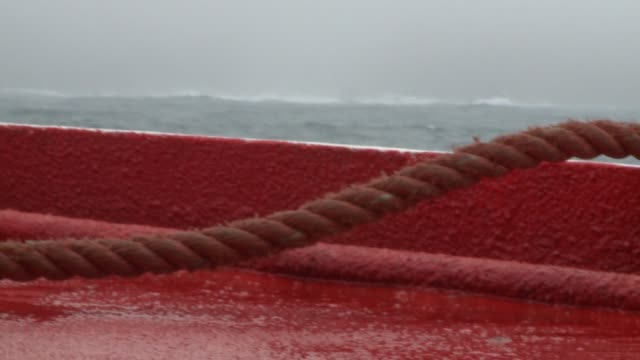 A ship travels through the churning Southern Ocean. Available in HD.