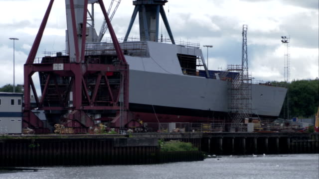 A ship under construction in the dock at Govan, Glasgow. Available in HD.