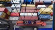 TL, WS, HA Shipping containers being moved by a transtainer crane / Paranagua, Brazil