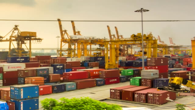 Shipping port in the big city,Panning shot