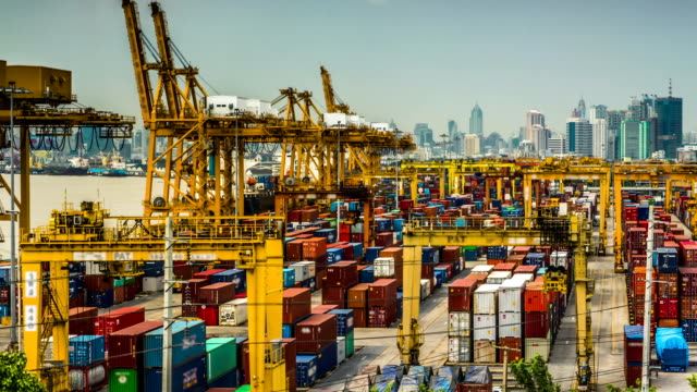 Shipping port in the big city,Time Lapse