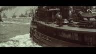 MS POV  Ships arriving  at new york harbor / New York, New York, United States