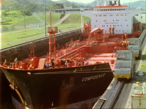 Ships in Panama canal lock, time lapse, MS, Panama.