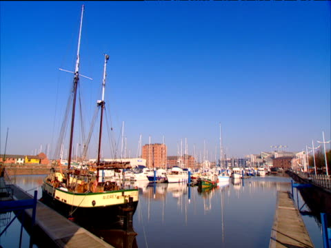 Ships moored in Hull Harbour under clear blue sky