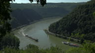 Ships on Rhine River near Loreley Rock, St. Goarshausen, Rhineland-Palatinate, Germany