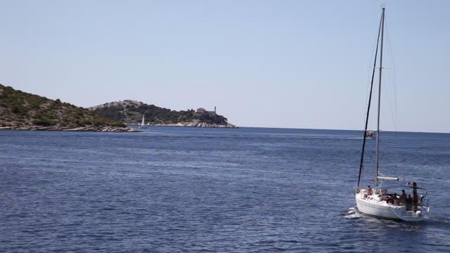 Ships sailing near Kornat island, Kornati National Park