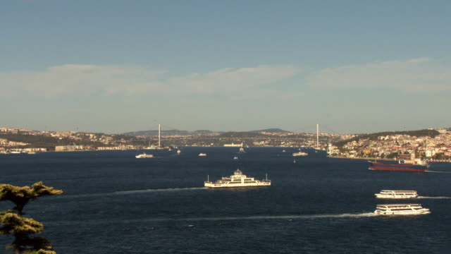 Ships travel along the Bosphorus in Istanbul.