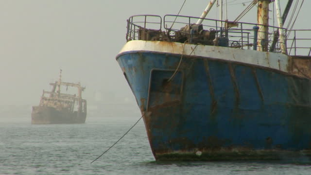 MS, Shipwreck anchored in shallow water, Nouadhibou, Mauritania