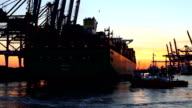 Shipyard in Hamburg by sunset