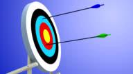 Shooting range: arrows hitting the target