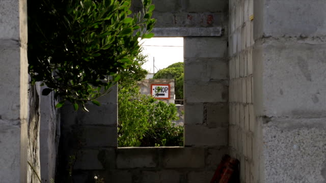 MS Shop sign through small window / Arniston/ Western Cape/ South Africa