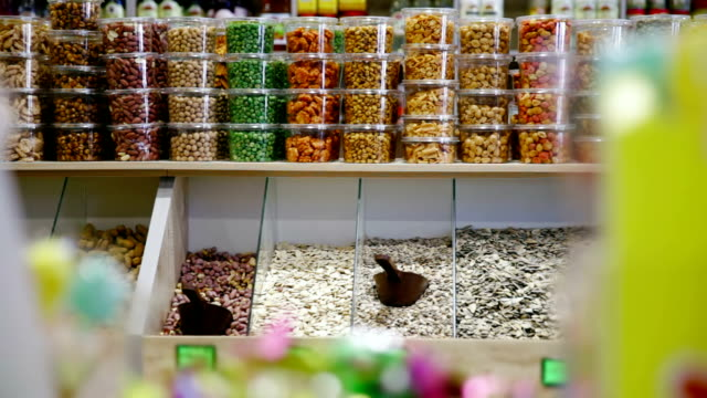 Shop with nuts, seeds and dried fruits