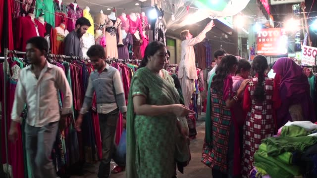 Shoppers at the local market of Tariq road area in Karachi Pakistan