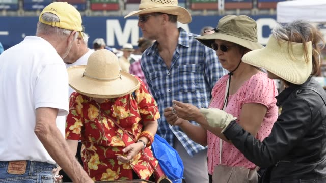 Shoppers browse items for sale during the Alameda antiques fair in Alameda California US on Sunday July 5 2015 Shots Close up shots of customers...