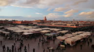 Shoppers mill around the Jamaa el-Fna in Marrakesh.