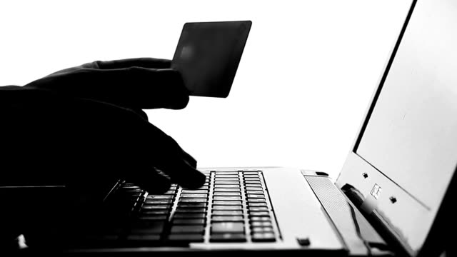 Shopping with credit card on labtop