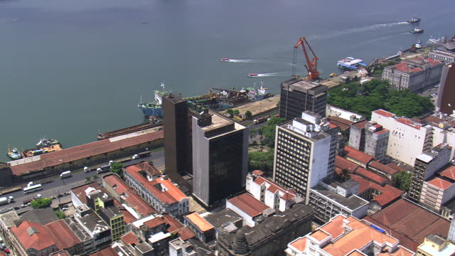 Ms Aerial Shor Of Port And City Sao Paulo Brazil Stock ...