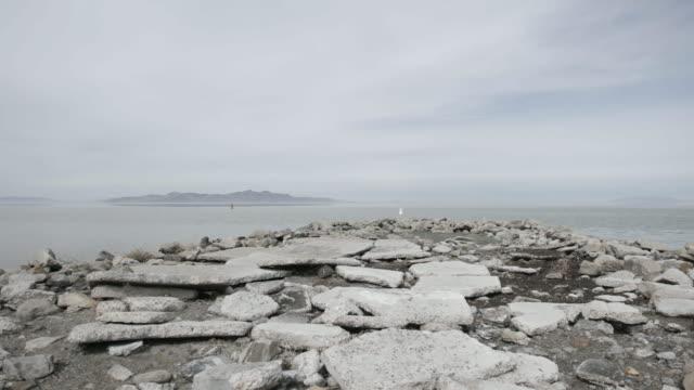 Shore of Great Salt Lake, pan left