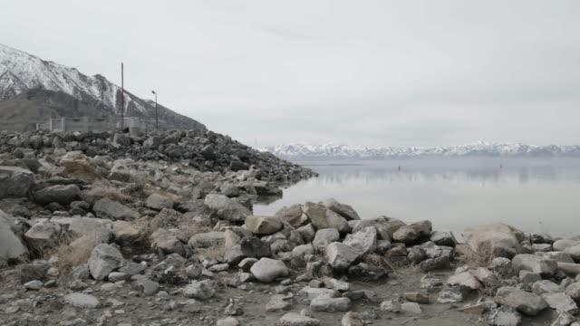 Shore of Great Salt Lake, pan right