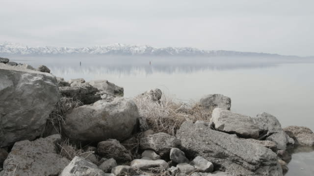 Shore of Great Salt Lake with mountains in background
