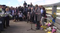 First anniversary service held Waizeneker reads out victims' names in alphabetical order SOT / Families lay flowers / Emergency services laying...