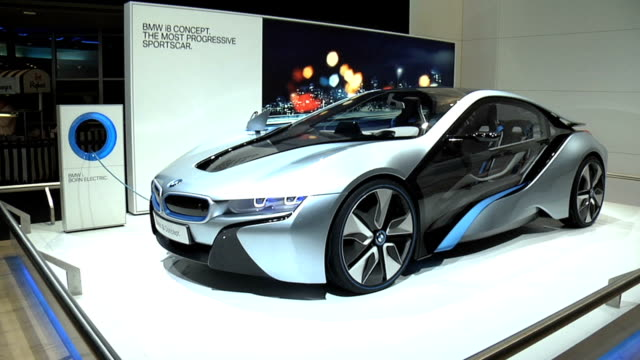 WS front quarter driver side / ZO to WS rear quarter driver side BMW i8 concept car montage at Cobo Hall on January 18 2012 in Detroit Michigan