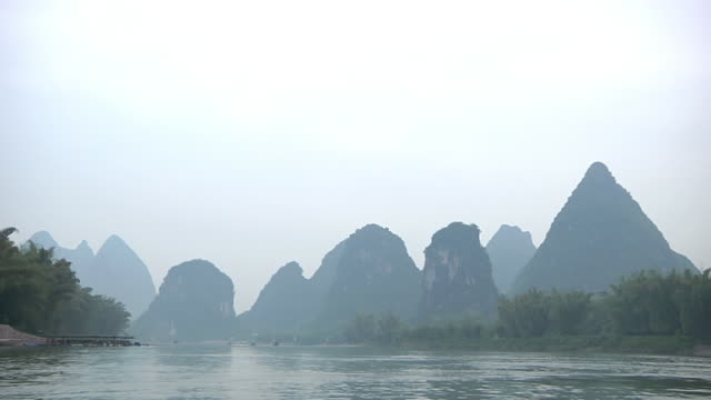 WS POV Shot from boat of Karst Mountains / Close to Li River, Guangxi, China
