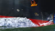 CU ZO AERIAL Shot from cargo ship to Bay Bridge / San Francisco, California, United States