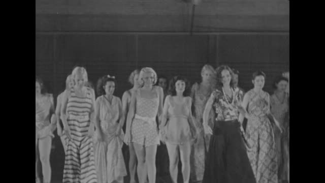 Shot from stage level of chorus girls practicing dance routine / Note exact day not known