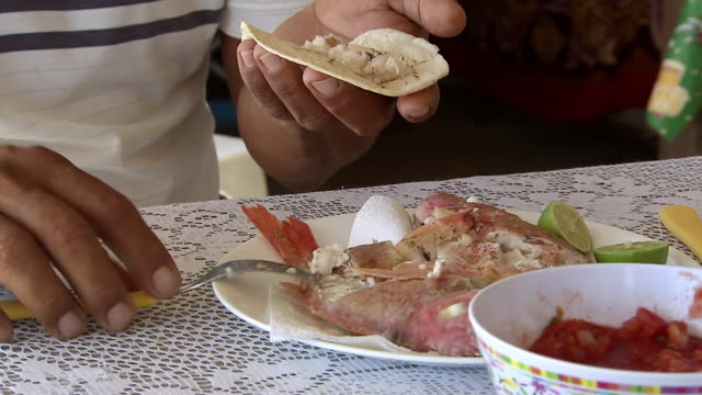 MS TS Shot man placing cooked vermilion snapper meat and salsa into soft taco / Tulum, Quintana Roo, Mexico