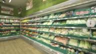 POV shot moving past the shelves of a supermarket.
