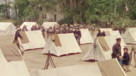 MS Shot of 1840 US army camp, soldiers and tents with trees in background