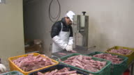 Shot of a man chopping lamb with meat slicer