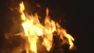 Shot of a roaring campfire at night.