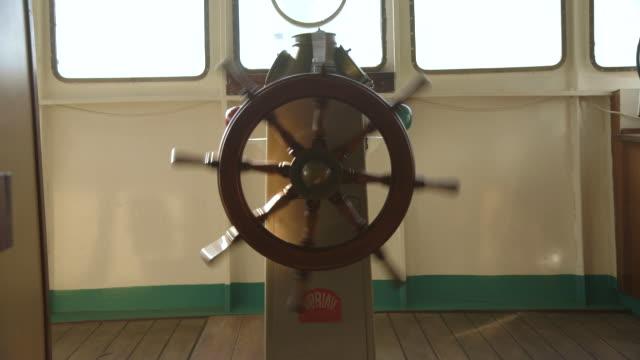 Shot of a ships wheel spinning.