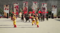 MS Shot of actors performing in ancient Chinese soldiers dress / Xian, Shaanxi, china