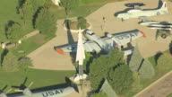 MS DS AERIAL shot of air and space museum airplanes / Colorado Springs, Colorado, United States
