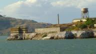 MS ZO AERIAL Shot of Alcatraz Island and prison complex / San Francisco, California, United States