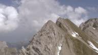 MS AERIAL Shot of altmasattel and summit / Altmann, Appenzell Innerrhoden, Switzerland