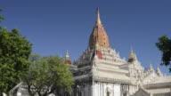 MS Shot of Ananda Pagoda with golden stupa / Bagan, Mandalay Division, Myanmar