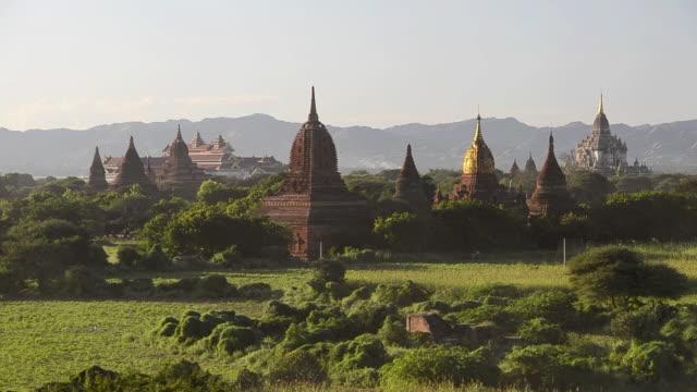 WS Shot of Ancient temples at Pagodas field / Bagan, Mandalay Division, Myanmar