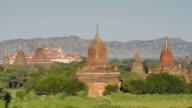 WS HA Shot of Ancient temples at Pagodas field / Bagan, Mandalay Division, Myanmar