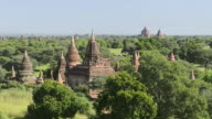WS HA Shot of Ancient temples at Pagodas field / Bagan, Mandalay Division, Myanmar